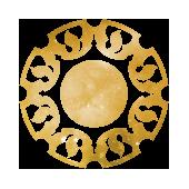 Symbol-Logo für Symbol-Design in gold, rund